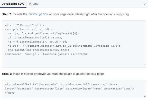 Adicionar um widget do Facebook