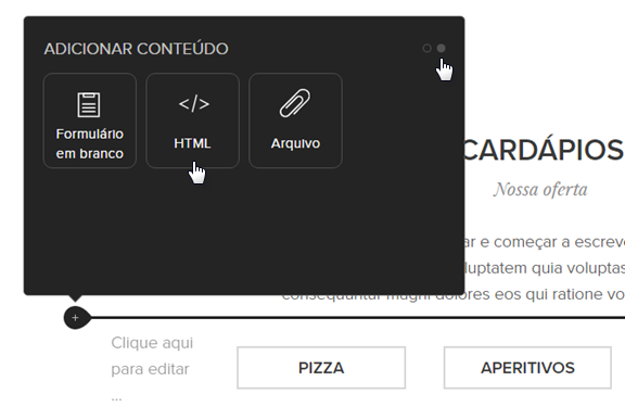 Adicionar um código HTML