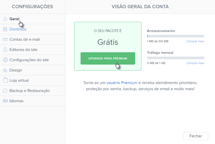 Comprar Premium na Webnode