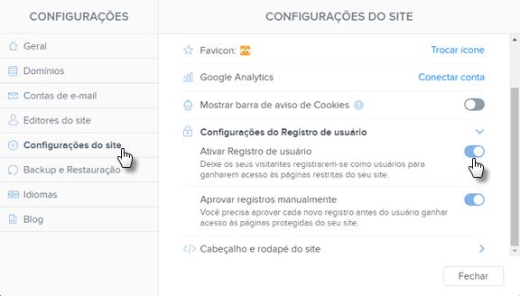 Desativar Registro de usuário