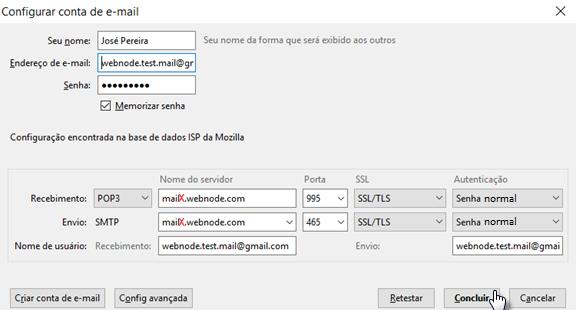 Configurar email em Thunderbird