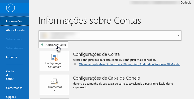 Configurar e-mail no Outlook
