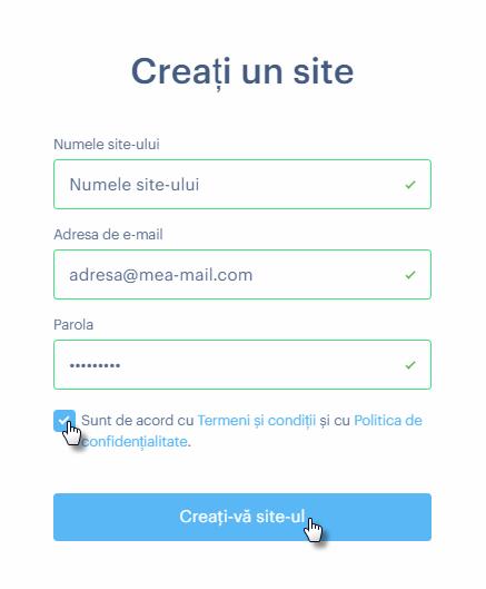 Înregistrați-vă pe Webnode