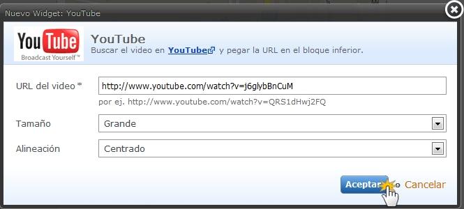 Insertar vídeo YouTube