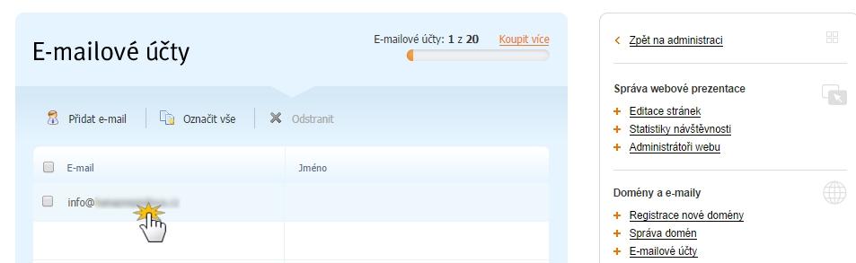 Zvolit emailový účet