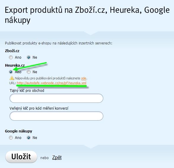 Export Heureka