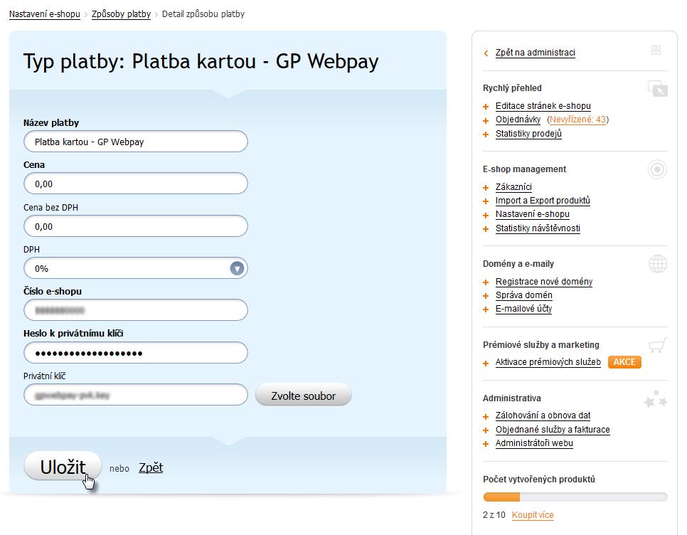 Jak nastavit platební bránu GP WebPay