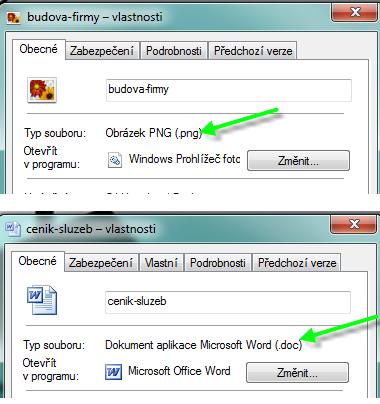 Příklady podporovaných typů souborů