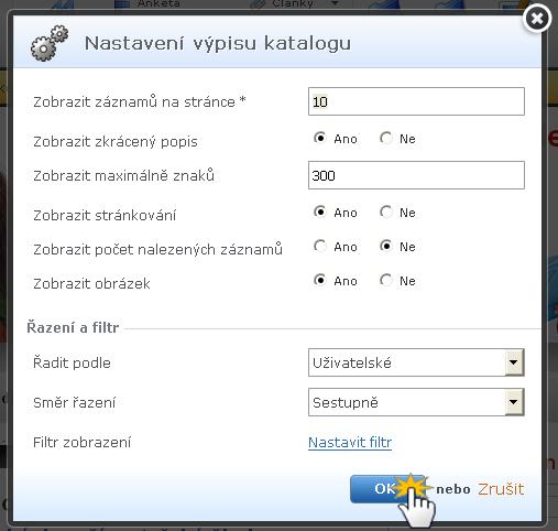 Vložení a úprava katalogu