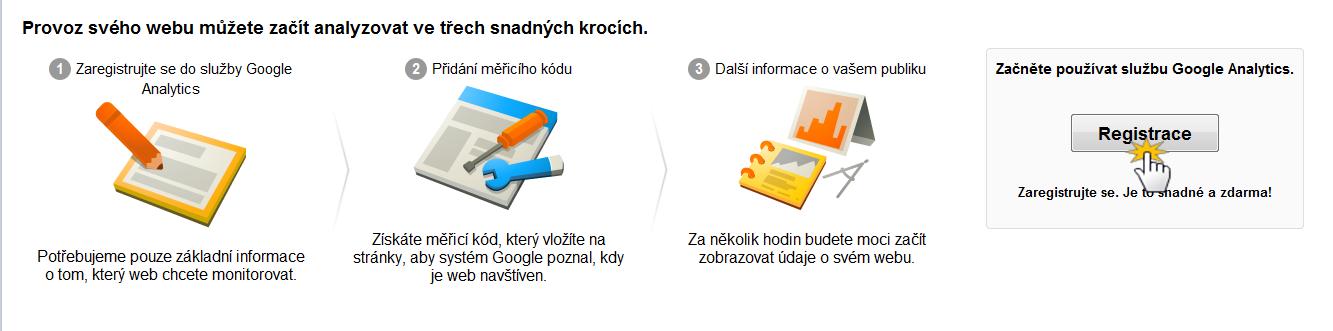 Google Analytics registrace