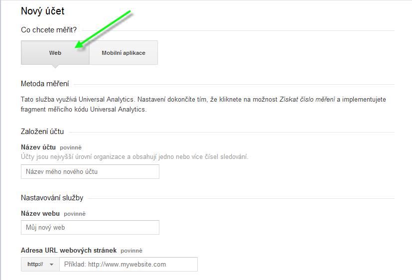 Google Analytics nastavení
