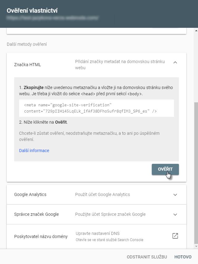 Vložit ověřovací kód  Google Search Console