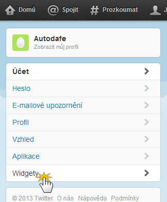 Vložit vizitku z Twitteru