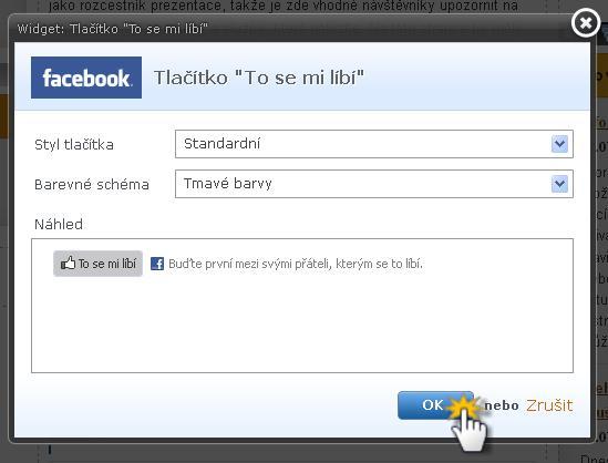 """Vložení facebookového tlačítka """"To se mi líbí"""""""