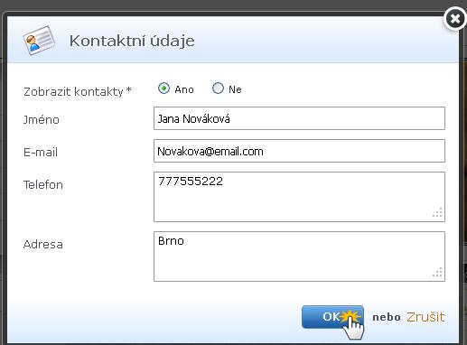 Změna kontaktních údajů na webu