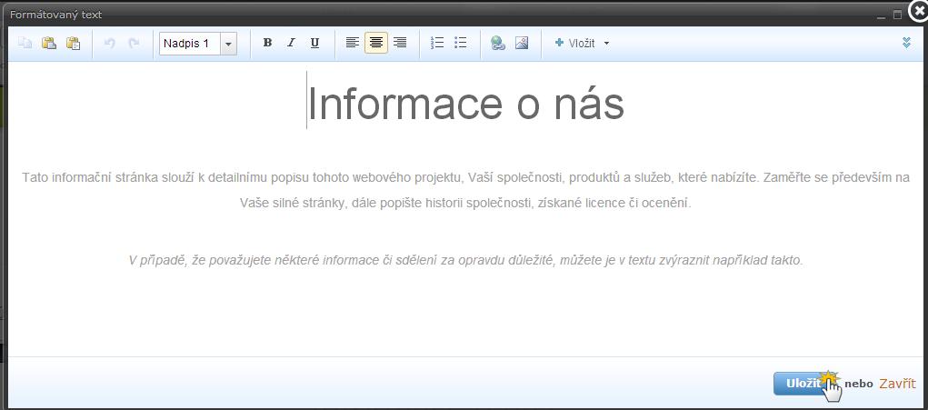 Práce s textem a popis editoru