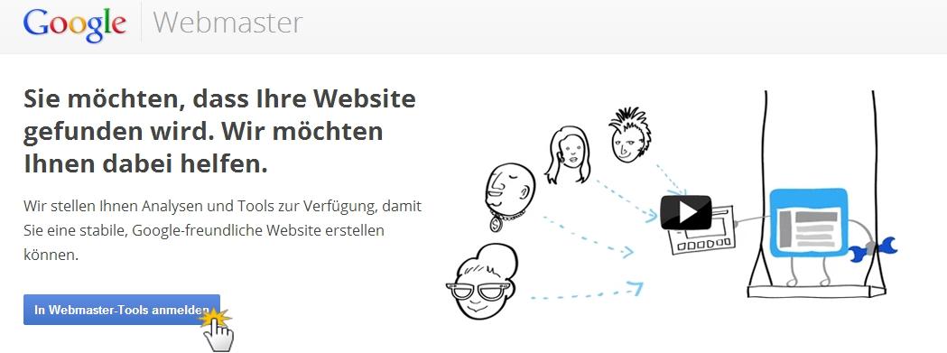 Google Webmaster-Tools Anmeldung