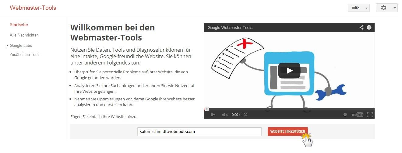 Webmaster-Tools URL hinzufügen