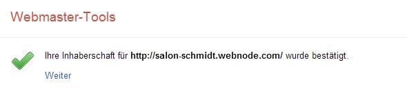 Webmaster-Tools bestätigt