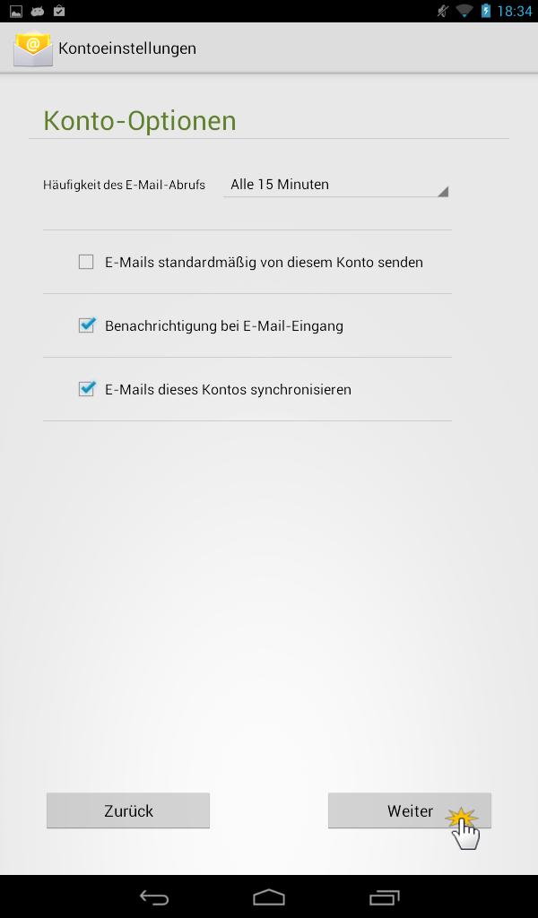 Android E-Mail Einstellung