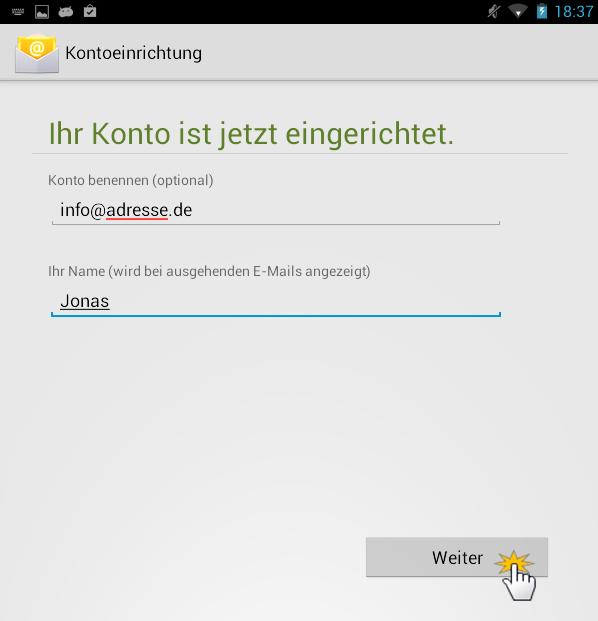 Android Kontoeinrichtung