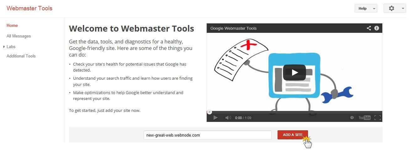 Webmaster Tools add URL
