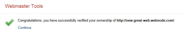 Webmaster Tools verified