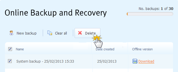 Delete website backup
