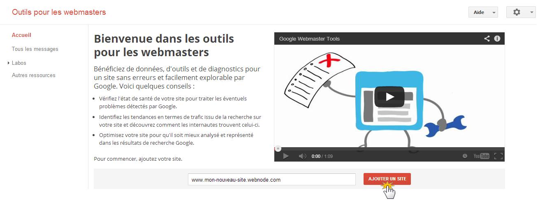 Ajouter le code de vérification d'Outils de webmaster de Google