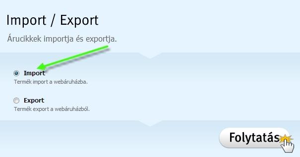 Termékek importálása és exportálása