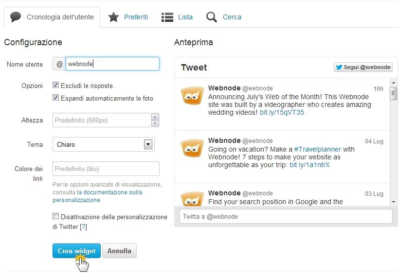 Come aggiungere un Widget per Twitter