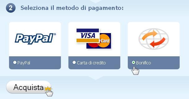 Seleziona il metodo di pagamento