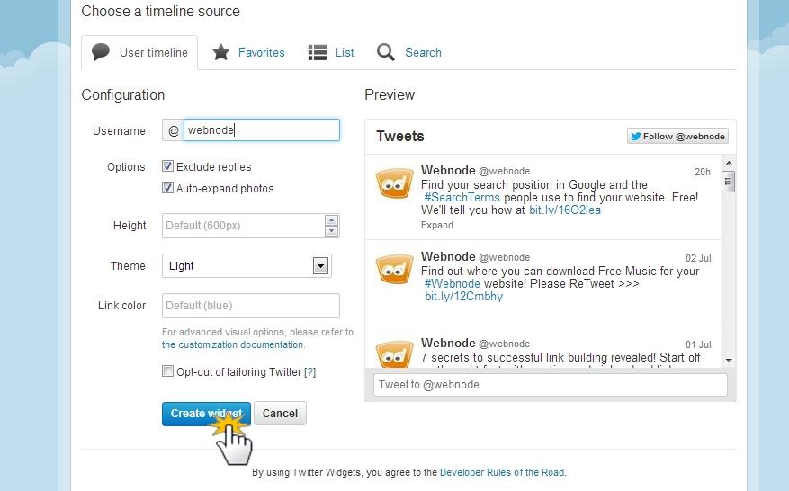 Add a Twitter widget