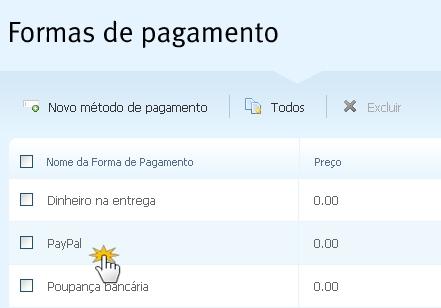 Configure a forma de pagamento PayPal