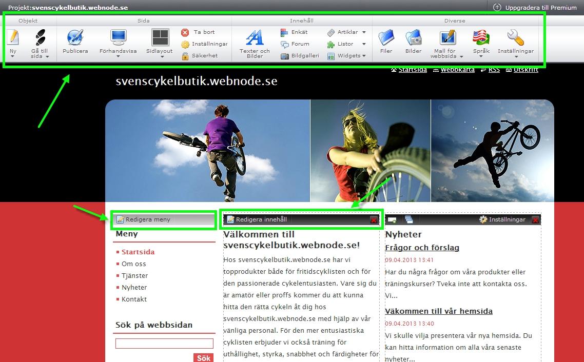 Introduktion till Webnode - beskrivning av var webbsideredigerare