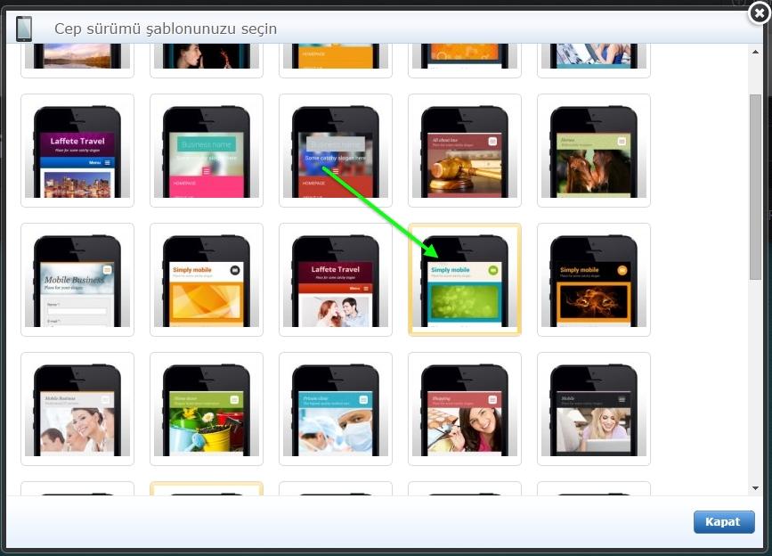 Mobil sayfa şablonu değiştirme