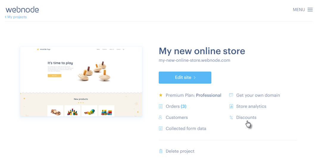 Webnode - discounts in online store