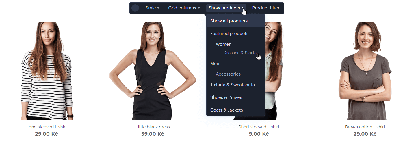 Set product listing