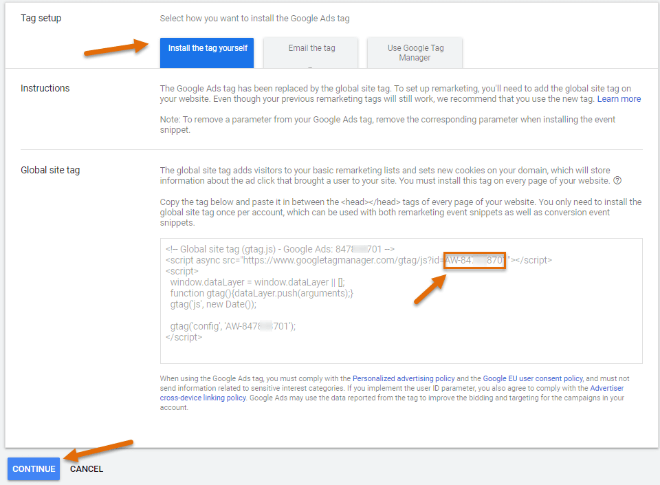 Google Ads tag ID