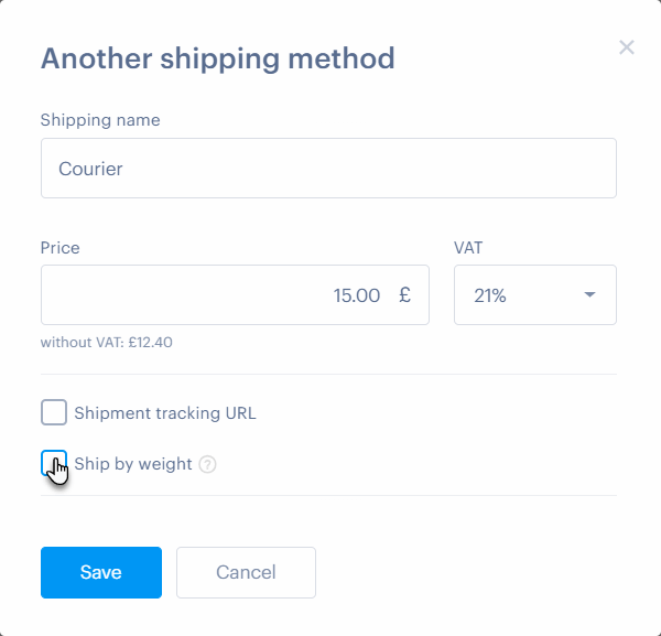 How to set the shipping price according to the weight of the product