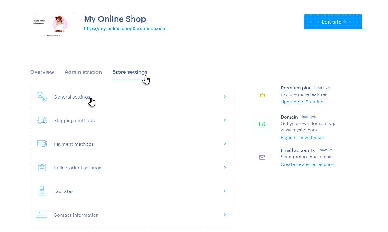 Click General settings