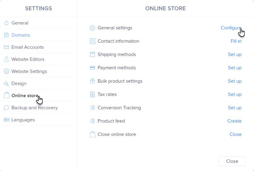 Choose configure General settings