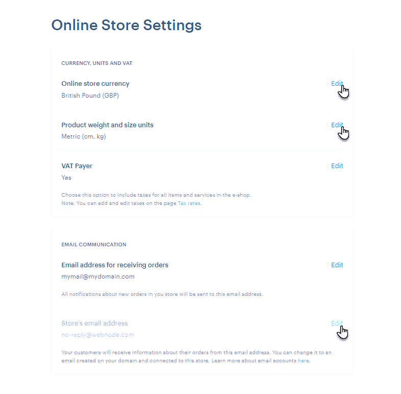 Online store settings