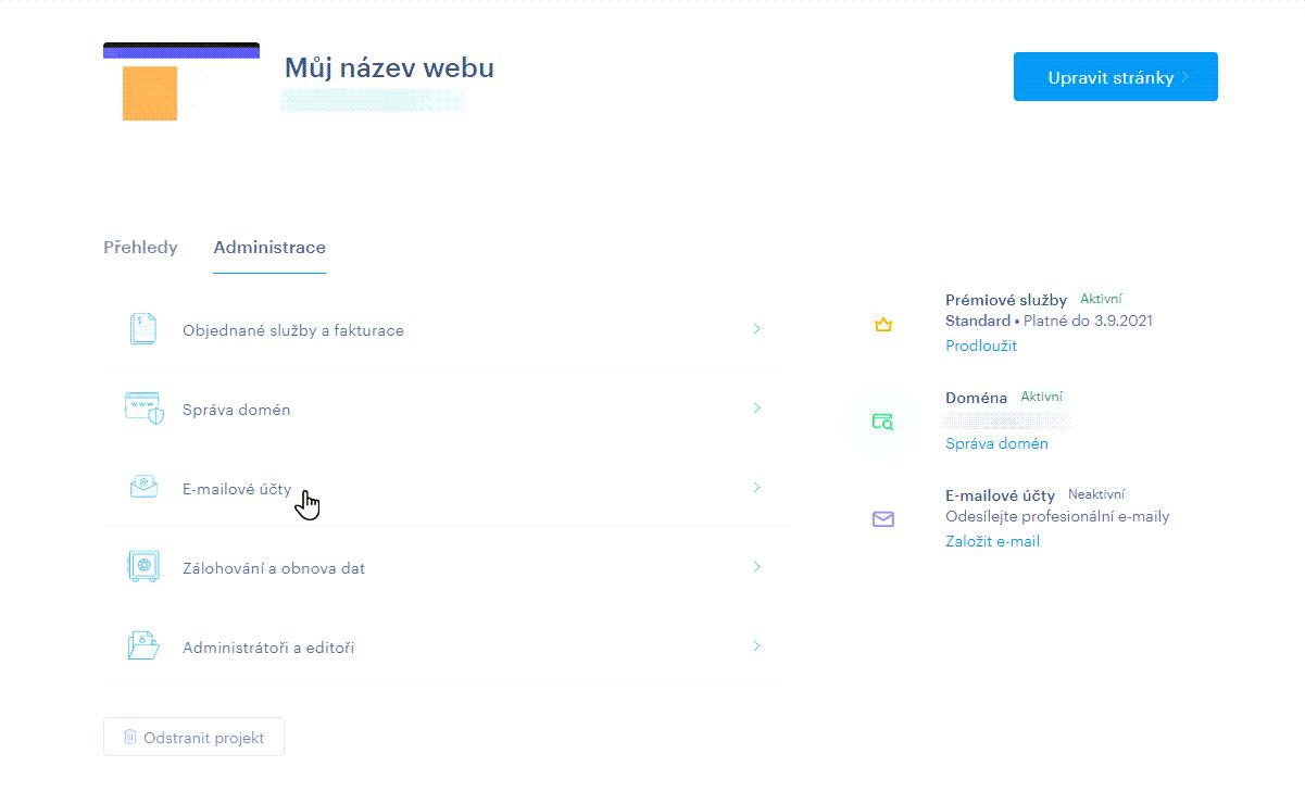 Klikněte na E-mailové účty