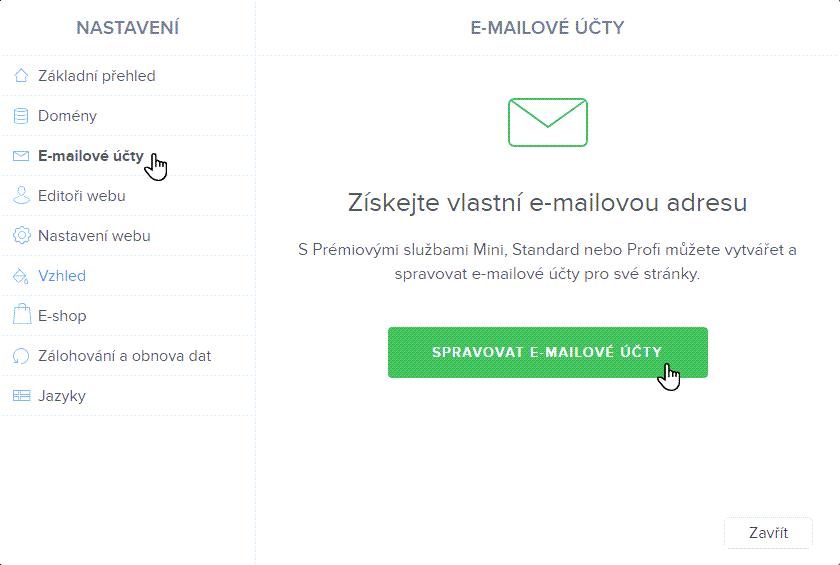 Spravovat e-mailové účty