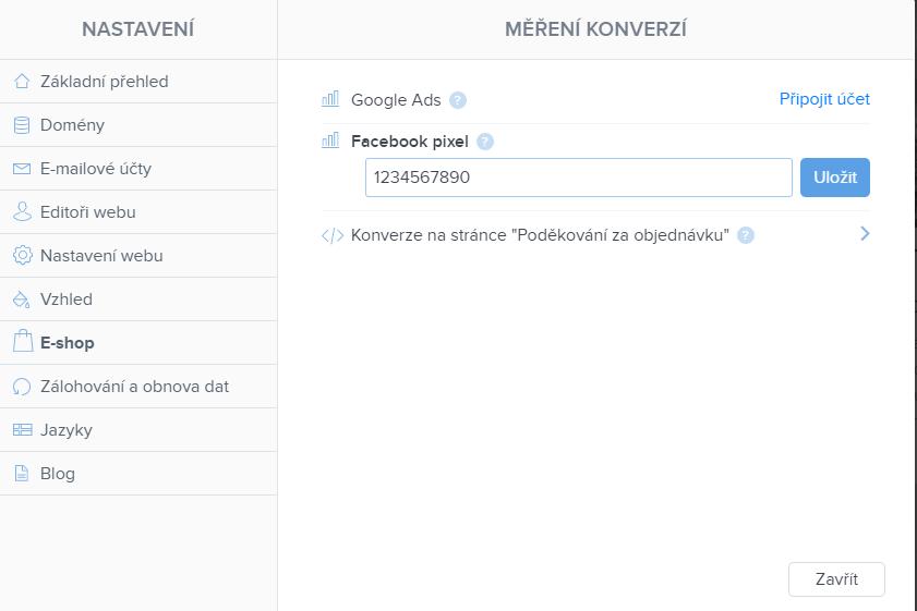 Vložení ID služby Facebook pixel na web