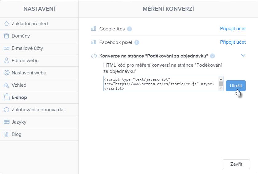 Vložení kódu pro měření konverzí