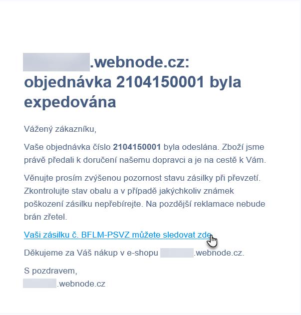 E-mail s objednávkou