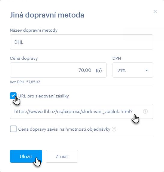 URL sledování zásilky