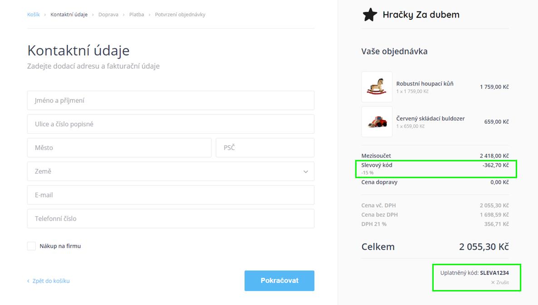 Webnode - slevové kupóny v e-shopu